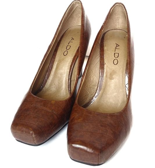 ALDO Square Toe Stacked Heel Pumps 7 37